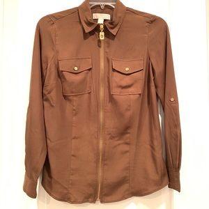 MICHAEL KORS Long Sleeve Zip Up Shirt size 6